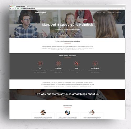 Website design - image of Inflection Point website