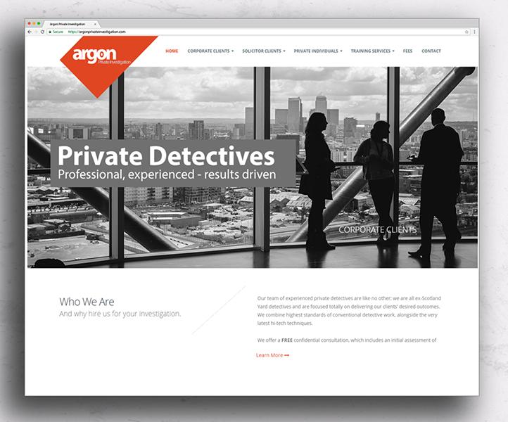 Website design Argon homepage