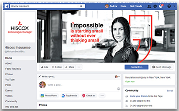 B2B Social Media Strategy - Hiscox Business Insurance Facebook page has 34,000 followers